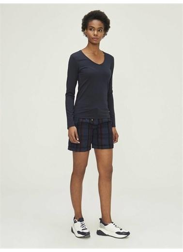 Xint XINT V Yaka Uzun Kollu Modal Basic Tişört Lacivert